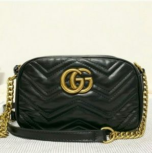 📣📣📣📣Cross body Black Marmont Bag Leather Gucci